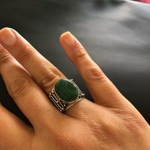 Jewelry - Russian Malachite vintage style with silver ring